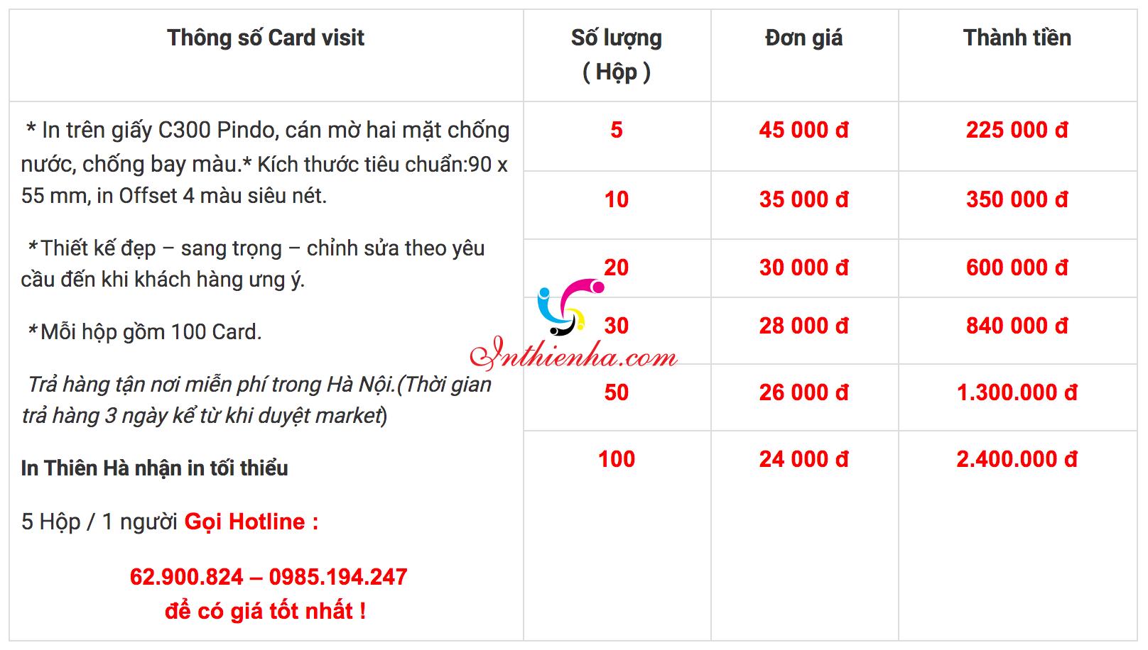Báo giá in card visit giá rẻ