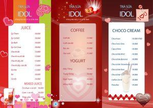 Thiết kế in menu quán trà sữa, trà Chanh đẹp hút khách nhất