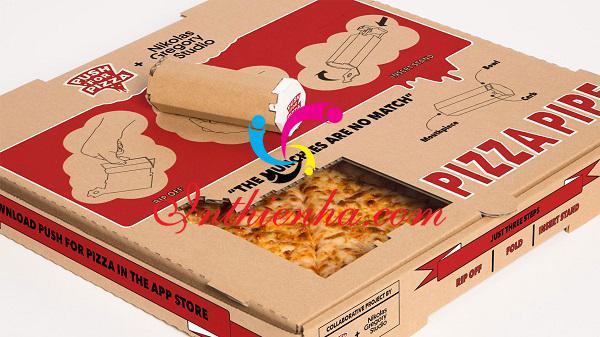in hộp đựng bánh pizza