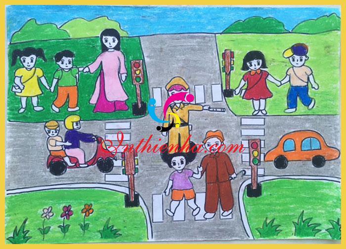 vẽ tranh đề tài an toàn giao thông