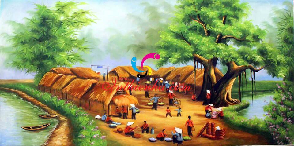 vẽ tranh đề tài phong cảnh quê hương